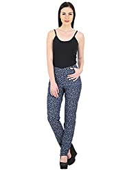 Woodin Printed Narrow Slim Fit Dark Blue Stretchable Jeans for Women