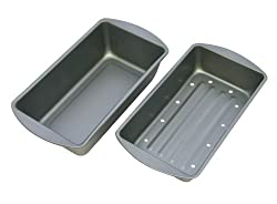 OvenStuff Non-Stick 9 1/4 Inch x 5 1/4 Inch x 2 Inch Meatloaf Pan with Fat-A-Way Insert