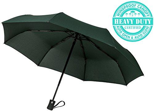 """60MPH vento ombrelli da viaggio """"garantita programma di ricambio per"""" primo piano automatico per Auto, compatto, resistente, non si rompe se sull'interno cui un cliente servizio sostenuti prodotto, Verde scuro (Nero) - TU-200"""