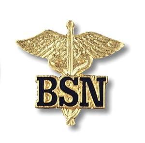 Prestige Medical Emblem Pin, BSN (Letter on Caduceus)