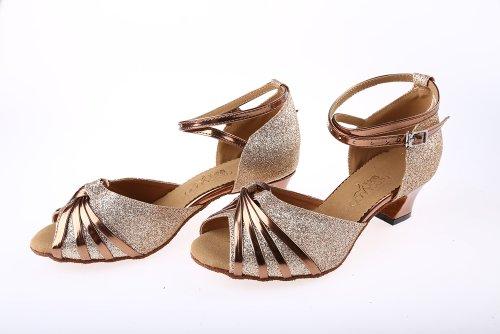 Minitoo Qj6119 Womens Peep Toe Low Heel Gold Glitter Meterial Knot Salsa Tango Ballroom Latin Ankle Strap Dance Sandals 9 M Us