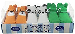 Lovespun Baby Zoo Animals 3 Pack Gift Box Sock Set, Assorted, 0-12 Months