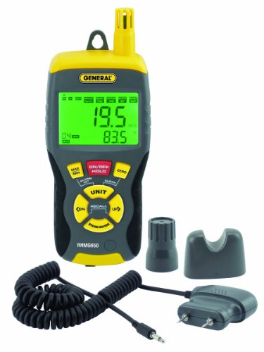 General Tools RHMG650 9-In-1 Thermo-Hygrometer with Pin/Pinless Moisture Meter - 1