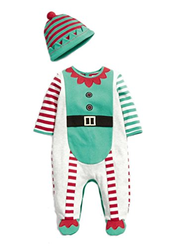 KMFEEL Baby Girls Boys Christmas Printing Striped Romper and Hat 0-2.5 year