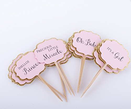 Baby shower decorations pink and gold baby shower cupcake for Baby shower cupcake picks decoration