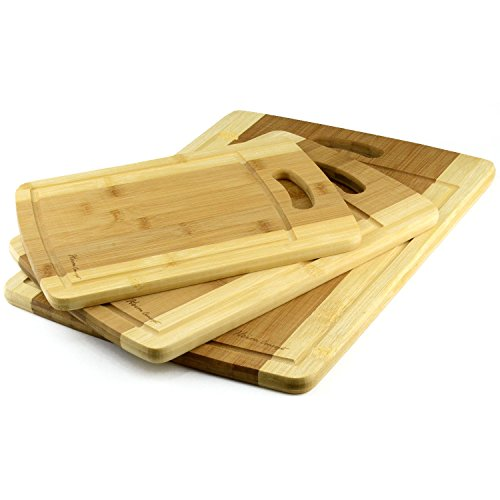 Organic Bamboo Cutting Board 3PC Set, Heim Concept Various Convenient Sizes Eco- Friendly Bamboo Premium Wood Chopping Board With Drip Groove (Bamboo Cutting Board With Groove compare prices)