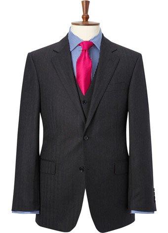 Austin Reed Regular Fit Charcoal Herringbone Jacket LONG MENS 38