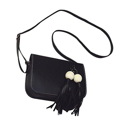 Koly_Pelle modo delle donne nappe borsa Croce corpo Shoulder Bag Messenger Coin (Nero)