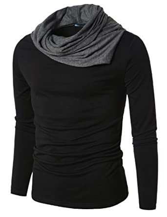 Doublju Mens Turtle Neck with Shirring Detail BLACK (US-S)