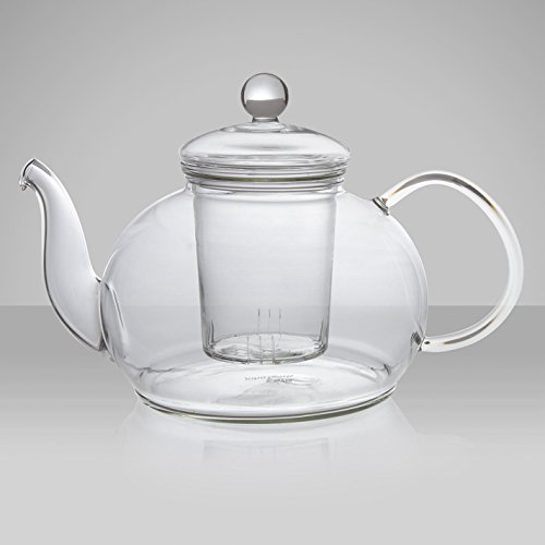 Find Discount Happy Sales 28 oz Clear Heat Resistant Borosilicate Glass Teapot & Infuser for loo...