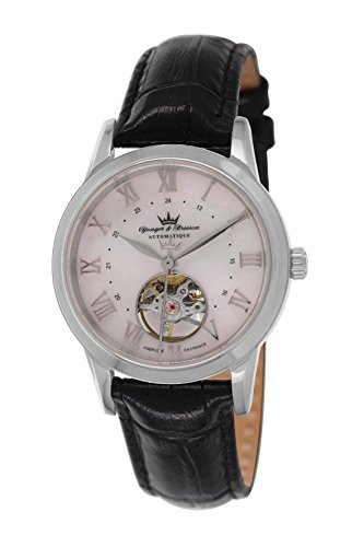 Yonger & Bresson - YBD 8523-10 Motorbike - Ladies Watch - Analogue - Automatic - White Dial - Black Leather Strap