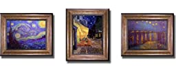 Starry Night by Van Gogh 3-pc Premium Bronze-Gold Framed Canvas Set (Ready-to-Hang)