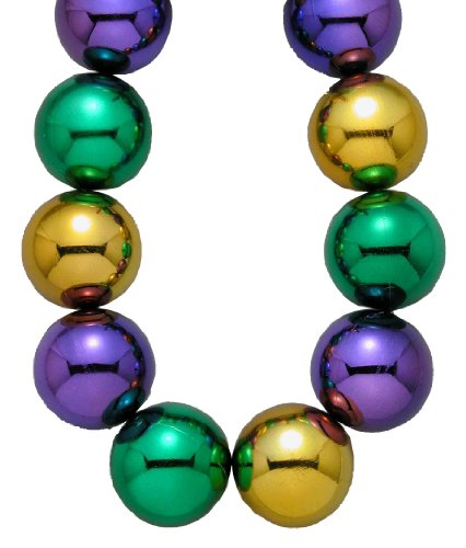 Forum Mardi Gras Parade 48-inch Bead Necklace 100mm Super Large Balls