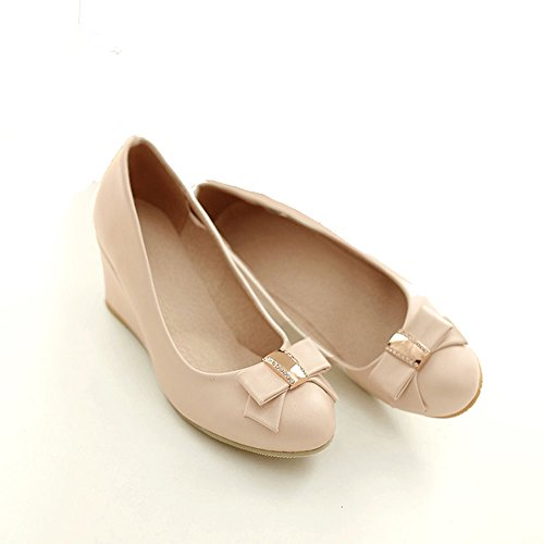 Spritech(TM) Women Girl Summer PU Leather Point Toe Bowknot Design Platform Wedges Shoes 37 Cream-colored