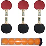 CE DHUPER REGULAR QUALITY TABLE TENNIS BAT WITH TT BALLS - (PACK OF 6) (ASSORTED COLOURS)