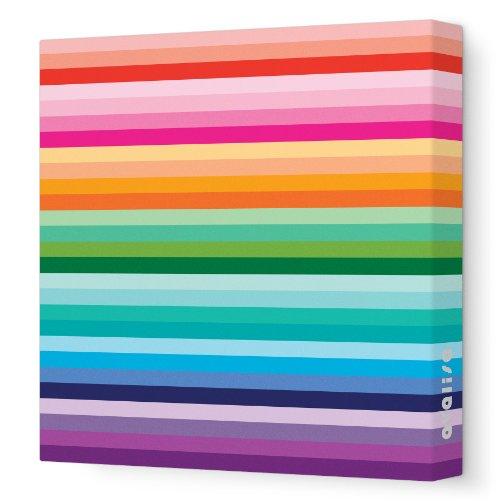 "Avalisa Stretched Canvas Nursery Wall Art, Sunset, Rainbow, 18"" x 18"""