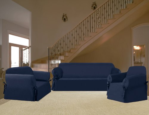 Outstanding 3Pcs Solid Micro Suede Navy Blue Sofa Loveseat Chair Machost Co Dining Chair Design Ideas Machostcouk