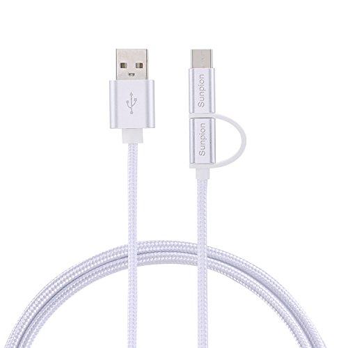 Sunpion® 2 in 1 USB tipo C, Cavo Tipo C a USB 3.0 cavo intrecciato per nuovo MacBook, Nexus 6P, 5 x, OnePlus 2, Nokia N1 Tablet e altri dispositivi USB Tipo C Dispositivi Supportati. (3.3Ft)