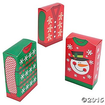 Ugly Christmas Sweater Party Favor Boxes - 12 ct