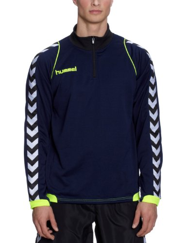 Hummel, Felpa da allenamento Uomo Bee Authentic, Blu (marine / neon yellow), L