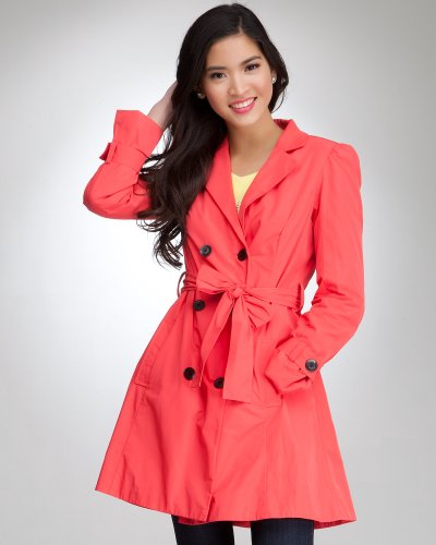 Bebe Taffeta Trench Coat GERANIUM Size Medium