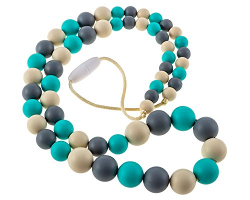 Chew-Choos 'Playdate' Silicone Teething Necklace - Modern Eco-friendly Baby Teether (Turquoise, Gray, Navajo White)