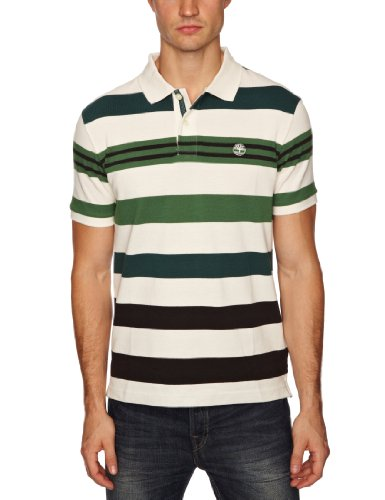 Timberland Short Sleeve Pique Stripe Polo Men's T-Shirt Juniper Small