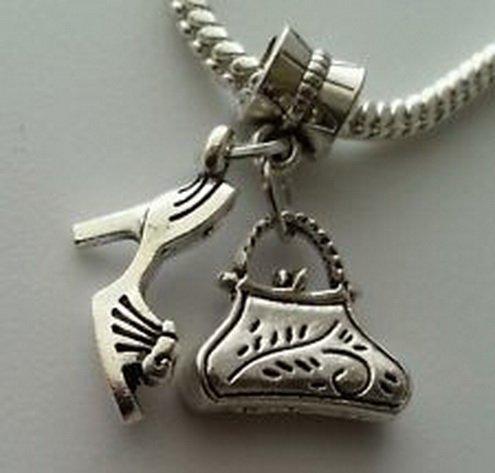 Beads Hut - Purse Handbag Bag High Heel Shoe Dangle Charm Beads Fit European Style Bracelet