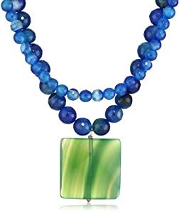 "David Aubrey ""LAUREN"" 2 Row Blue Lace Agate Bead with Green Agate Drop Necklace"