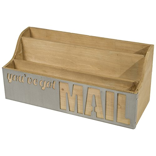 Desktop Wooden Letter Sorter with You've Got Mail Metal Panel (Natural)