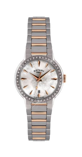 Rotary Women's Quartz Watch with Mother of Pearl Dial Analogue Display and Silver Stainless Steel Bracelet LB02844/41
