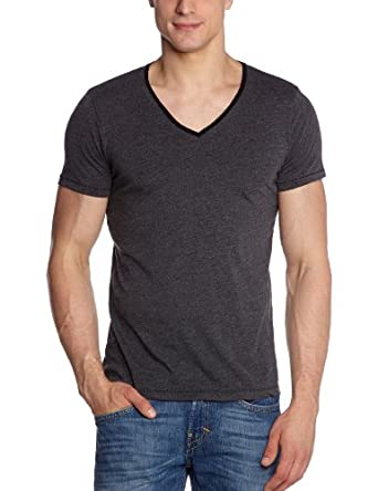 Tom Tailor Denim S.Dye Melange Nos - T-shirt  - Uni - Manches courtes - Homme - Noir (Black) - Medium (Taille fabricant: S)