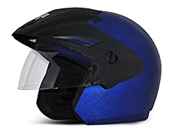 Vega Cruiser Open Face Helmet with Peak (Metalic Blue, M)