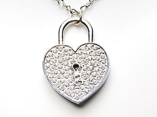 Bling Crystal Rhinestone Heart Locket Big Heart Shape Costume Pendant Necklace