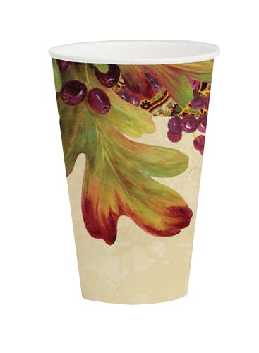 Creative Converting Leaves n' Berries Hot or Cold Beverage Cups, 8 Count