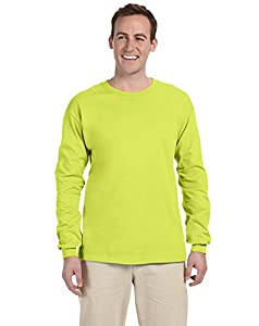 Fruit Of The Loom Heavy Cotton Hd Adult Long Sleeve Tee (Safety Green) (L)