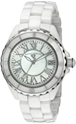 "Swiss Legend Women's 20050-WWSR ""Karamica Collection"" Stainless Steel Watch with White Ceramic Bracelet"