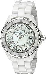 "Swiss Legend Women's 20050-WWSR ""Karamica Collection"" Stainless Steel Watch with White Ceramic Bracelet"