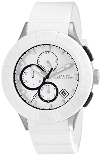 Marc Jacobs Homme 44mm Chronographe Blanc Caoutchouc Bracelet Montre MBM5542