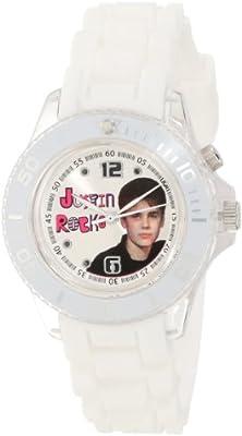 Justin Bieber Kids' JB1275 White Strap with Flashing Dial Watch