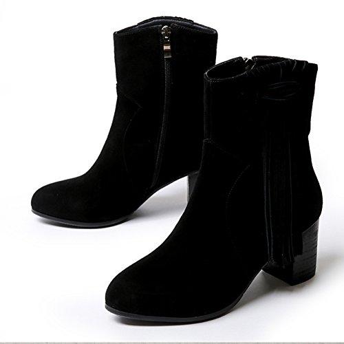 La versione coreana della primavera e dell'autunno testa rotonda con stivali pesanti/ flusso di sukau con eleganti stivaletti/ scarpe casual-B Longitud del pie=22.3CM(8.8Inch)