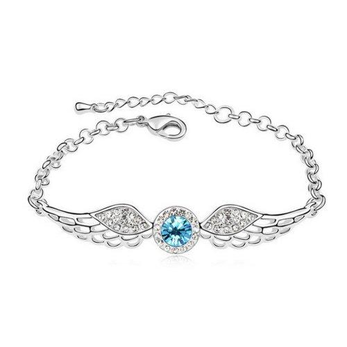 "Alvdis Fashion Jewelry Angel Wings Style Alloy Crystal Pendant Bracelet, 6.3""+1.58"", Blue"