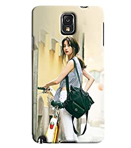 Blue Throat Japense Girl With Cycle Printed Designer Back Cover/ Case For Samsung Galaxy Note 3
