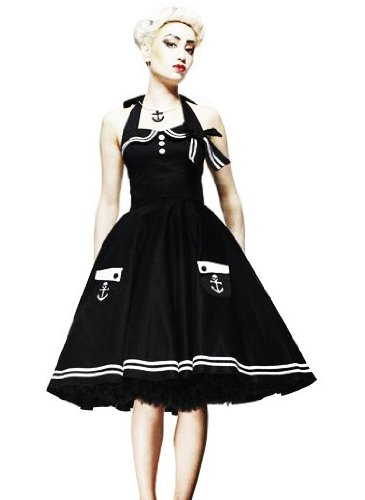 HELL BUNNY Pin Up 50s DRESS Black MOTLEY Sailor Anchor All Sizes