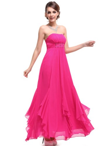 HE09765HP10, Magenta, 8US, Ever Pretty BNWT Rhinestones Chiffon Pinks Maxi Wedding Dress 09765