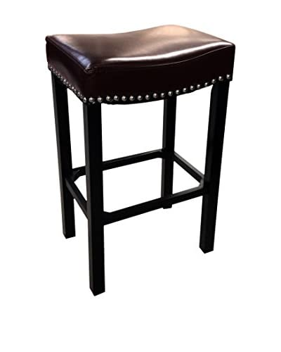 Armen Living Tudor Leather Backless 30 Stationary Barstool with Nailhead Accents, Brown