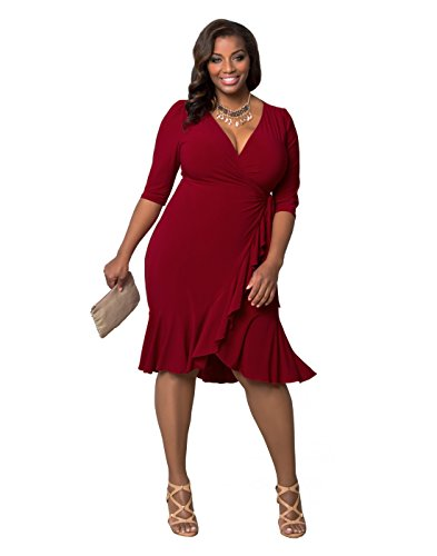 Kiyonna Women's Plus Size Whimsy Wrap Dress 2X Red-y For Love