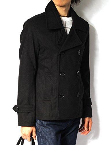 (リピード) REPIDO ピーコート pコート pコート メンズ コート メルトン ウール ショート丈 ジャケット メルトンピーコート 防寒 ブラック Mサイズ