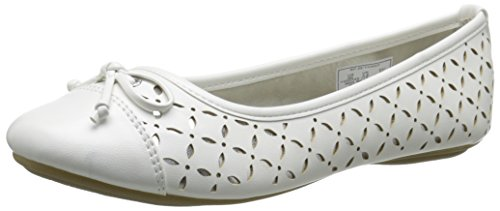 Sperry Top-Sider Bethany Ballet Flat (Toddler/Little Kid/Big Kid), White/Silver, 4.5 M US Big Kid