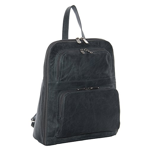 piel-leather-slim-tablet-backpack-with-front-pockets-charcoal-one-size